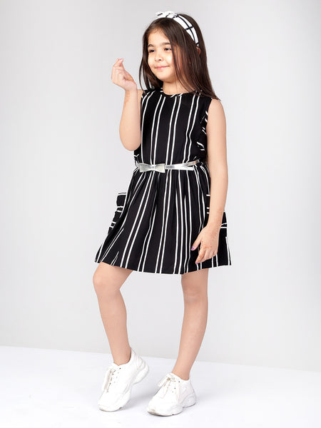 Naughty Ninos Girls Black & White Striped Fit and Flare Dress