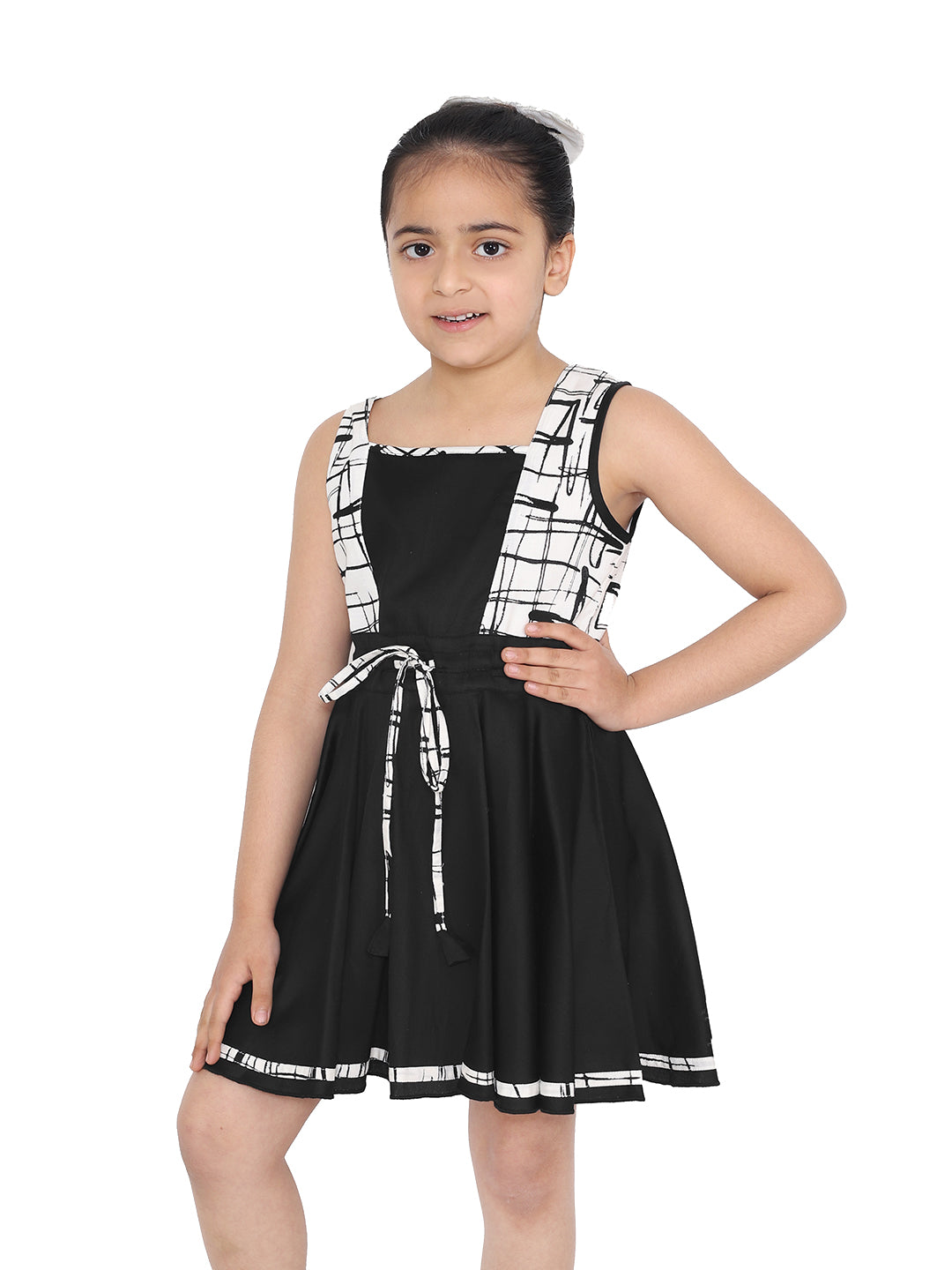 Naughty Ninos Girls Black & White Checked Fit and Flare Dress
