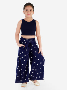 Naughty Ninos Girls Navy Blue & Navy Blue Solid Top with Palazzos