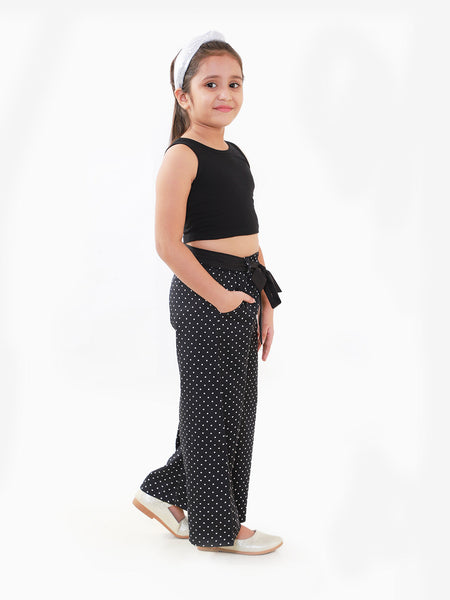 Naughty Ninos Girls Black Solid Top With Palazzo