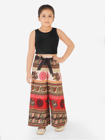 Naughty Ninos Girls Black Top with Red Printed Palazzos
