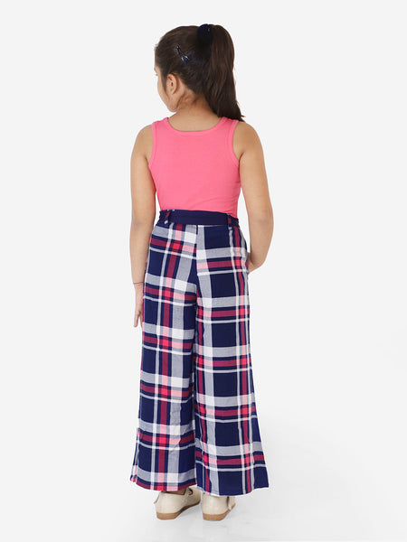 Naughty Ninos Girls Pink Top with Navy Blue Checked Palazzos