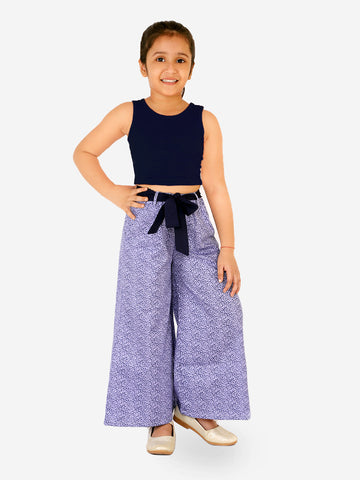 Naughty Ninos Girls Navy Blue Top with Purple Printed Palazzos