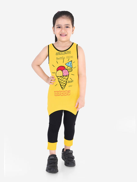 Naughty Ninos Girls Yellow & Black Printed T-shirt with Leggings