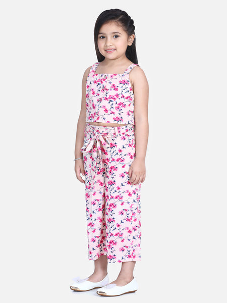 Naughty Ninos Girls Pink & Blue Floral Printed Top with Palazzos