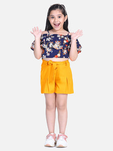 Naughty Ninos Girls Navy Blue & Mustard Printed Top with Shorts