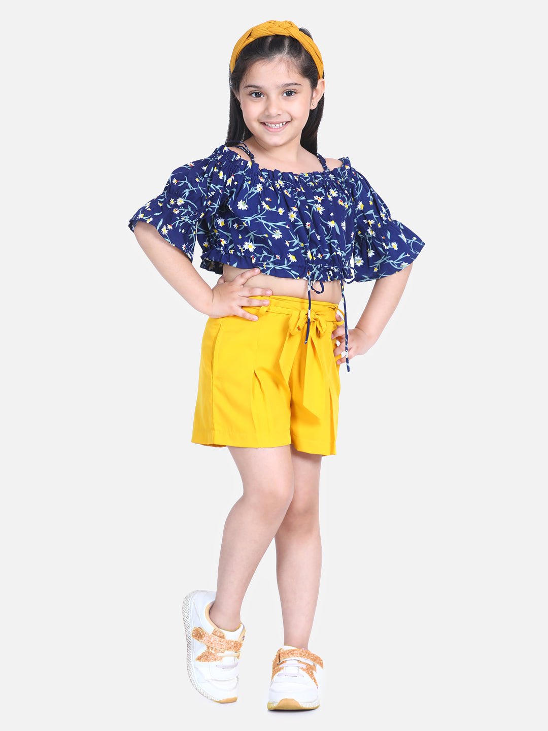 Naughty Ninos Girls Navy Blue & Yellow Printed Top with Shorts