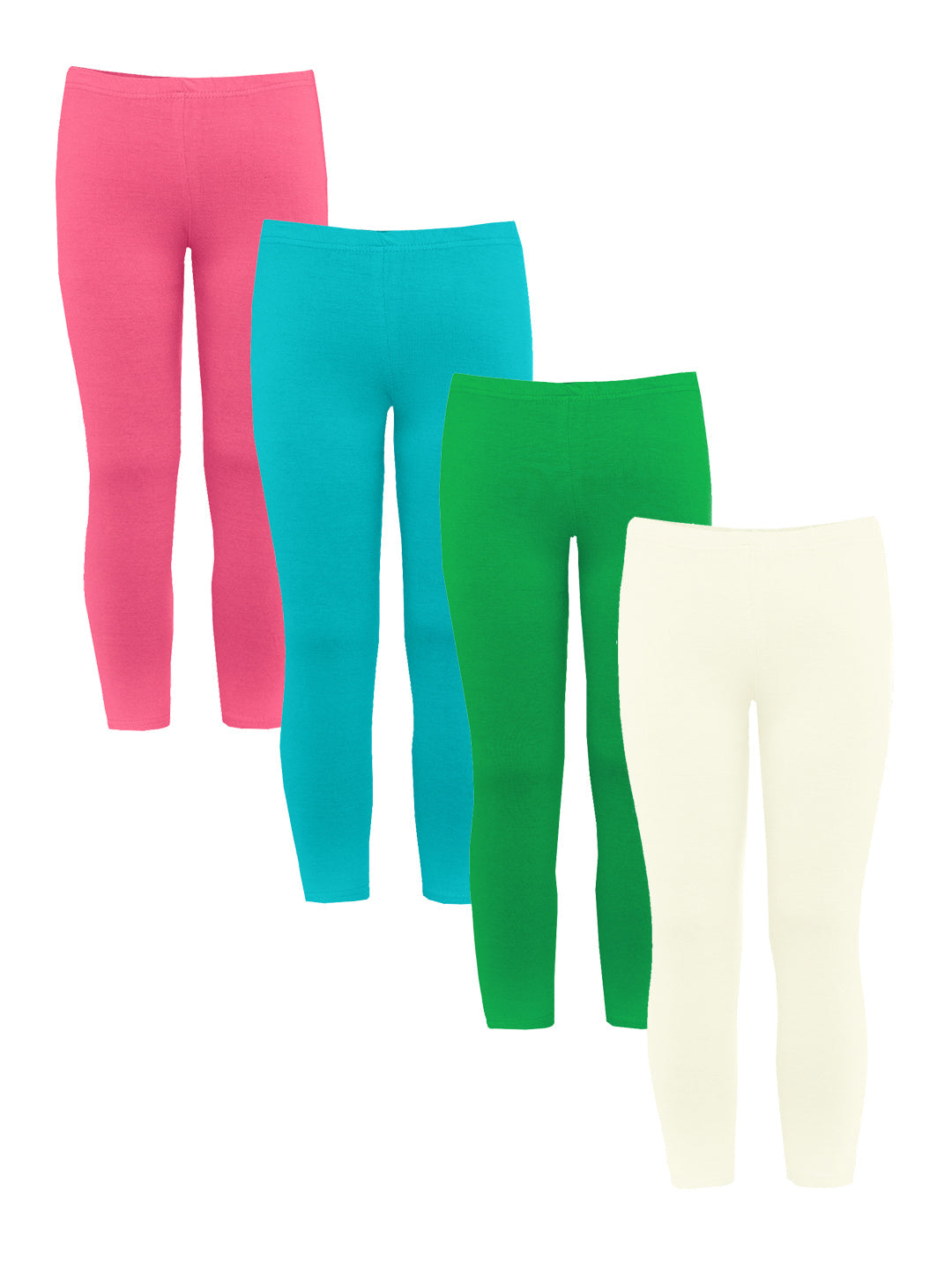 Naughty Ninos Girls Pack of 4 Assorted Ankle-Length Leggings