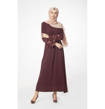 Abaci Modest Sequined Dress 12956 Burgundy
