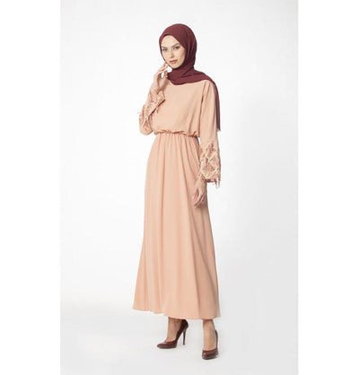 Abaci Modest Sequined Dress 12956 Salmon