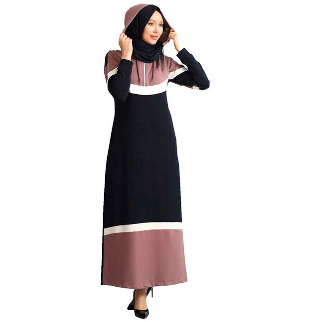 Abaci Dress Abaci Modest Sporty Abaya 9038 Mauve/Navy/White