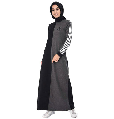 Abaci Dress Abaci Modest Sporty Abaya 9064 Black/Gray