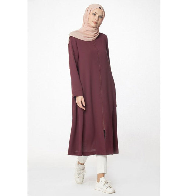 Abaci Outerwear Abaci Modest Topcoat 13397 Maroon