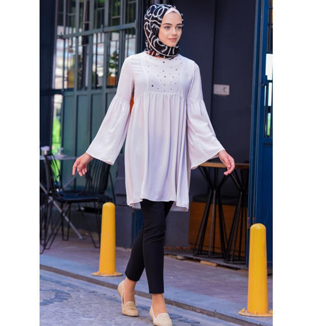 Abaci Tunic Abaci Modest Chiffon Tunic 11417 Cream