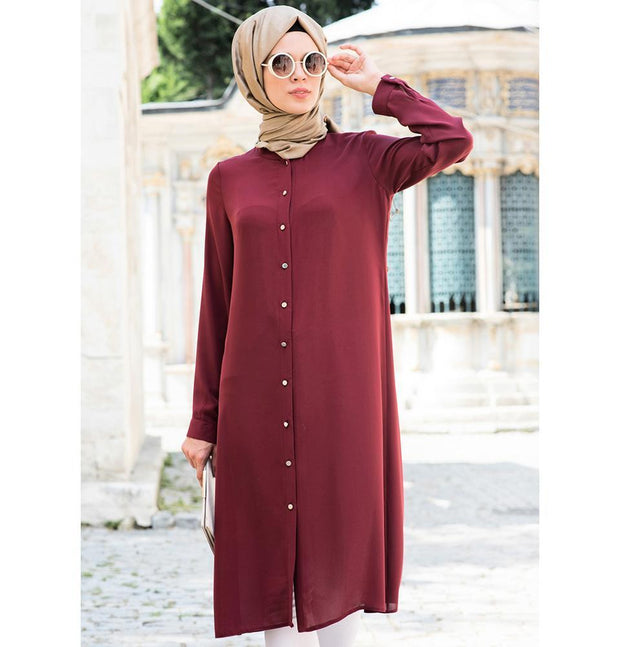 Abaci Tunic 2 / Burgundy Abaci Simple Tunic 17TNK9936 Burgundy