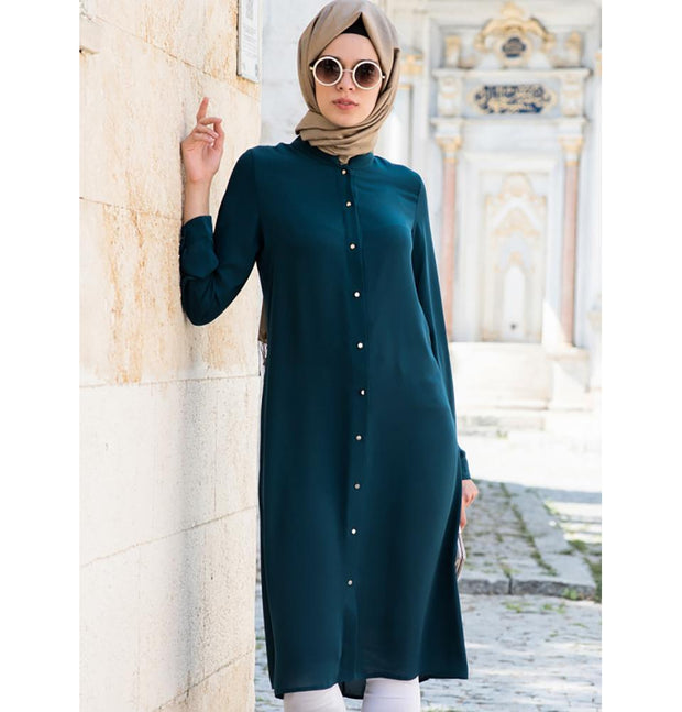 Abaci Tunic Abaci Simple Tunic 17TNK9936 Teal Blue - Modefa