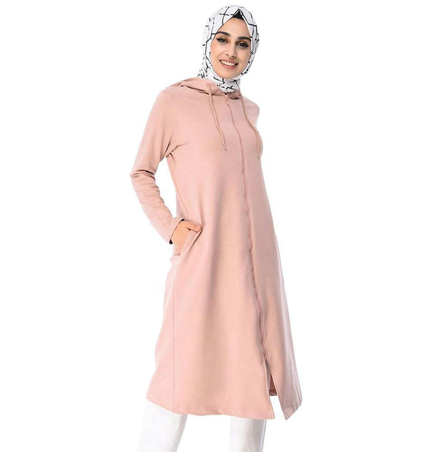 Abaci Tunic Abaci Long Modest Hooded Tunic 8299 Pink