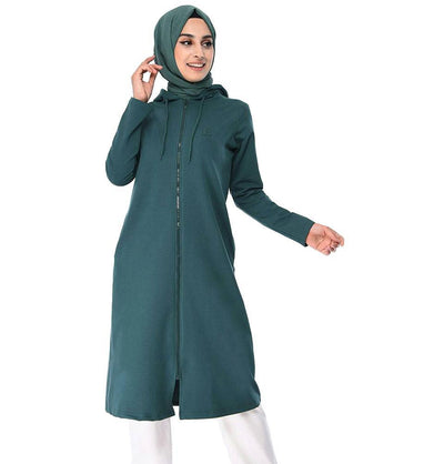 Abaci Tunic Abaci Long Modest Hooded Tunic 8299 Teal