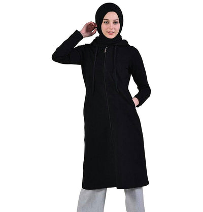 Abaci Tunic Abaci Long Modest Hooded Tunic 8335 Black