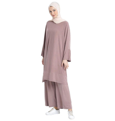 Abaci Tunic Abaci Modest Oversized Striped Tunic & Pant Set 13123