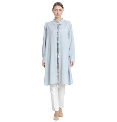 Abaci Modest Sequined Tunic 13190 Blue Gray