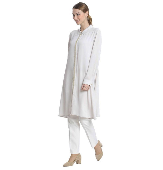 Abaci Modest Sequined Tunic 13190 Creme