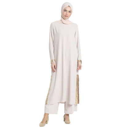 Abaci Modest Sequined Tunic 13191 Beige