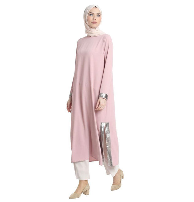 Abaci Modest Sequined Tunic 13191 Pink