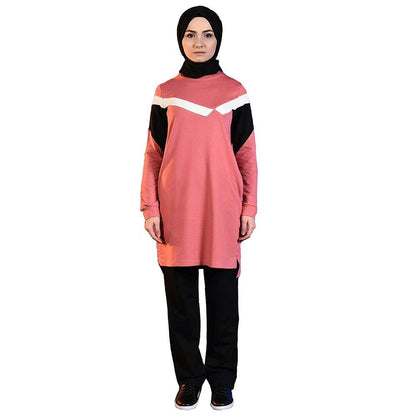 Abaci Tunic Abaci Modest Sporty Tunic & Pant Set 8344 Coral/Black