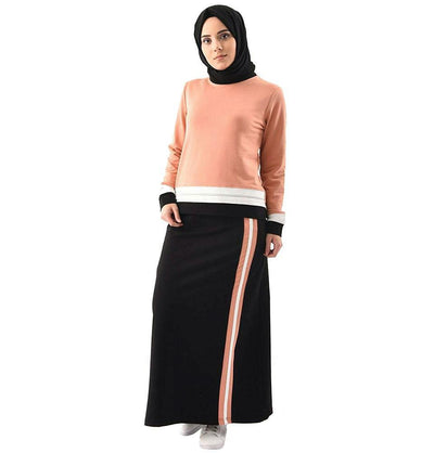 Abaci Tunic Abaci Modest Sporty Tunic & Skirt Set 8361 Peach/Black