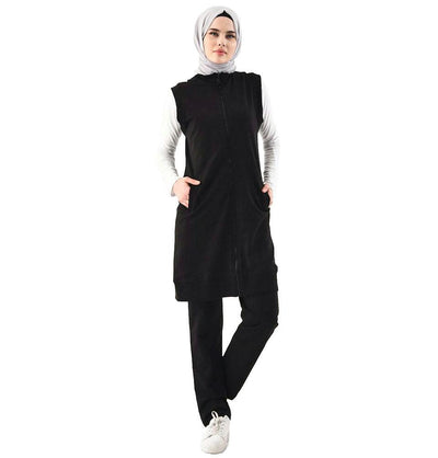 Abaci Tunic Abaci Modest Sporty Vest & Pant Set 8325 Black