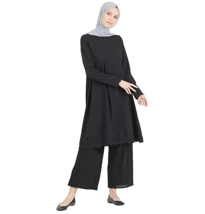 Abaci Solid Laced Tunic & Pant Set 13206 Black