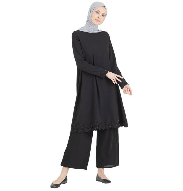 Abaci Tunic Abaci Solid Laced Tunic & Pant Set 13206 Black