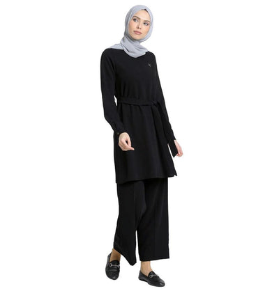 Abaci Solid Tunic & Pant Set 12252 Black