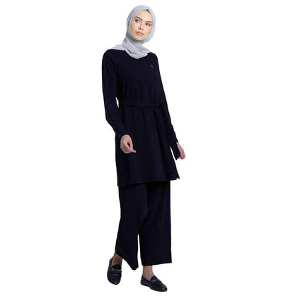 Abaci Solid Tunic & Pant Set 12252 Navy