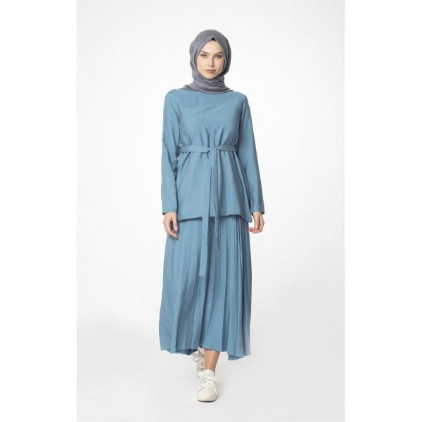 Abaci Tunic Abaci Solid Tunic & Skirt Set 13343 Blue