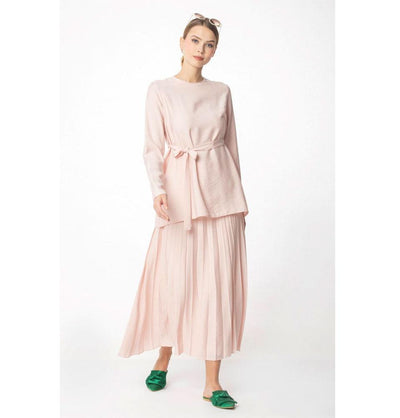 Abaci Solid Tunic & Skirt Set 13343 Pink