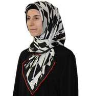 Aker scarf 90 x 90cm / Black / White Aker Satin Square Hijab Scarf 6749 963 Black / White