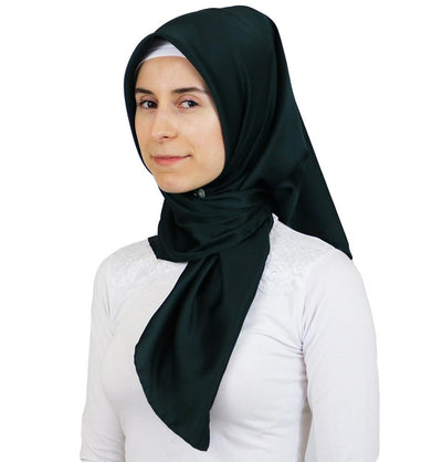 Aker Satin Square Hijab Scarf 6385 952 Dark Green