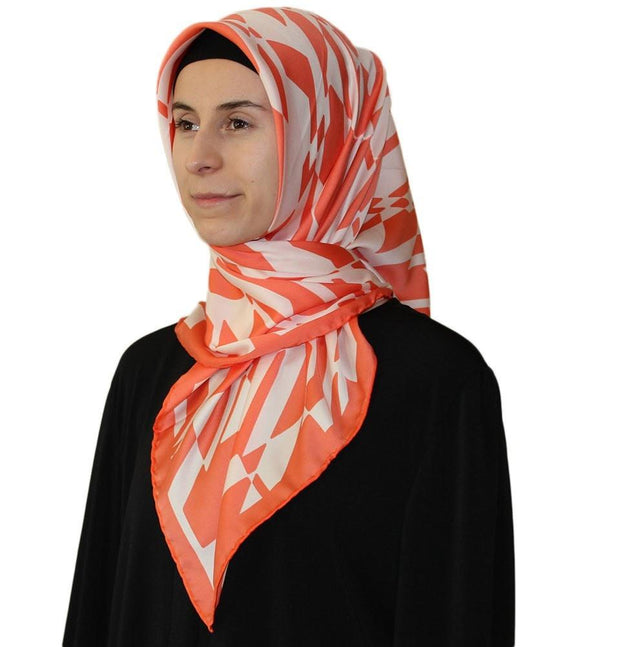 Aker scarf 90 x 90cm / Orange / White Aker Satin Square Hijab Scarf 6749 965 Orange / White