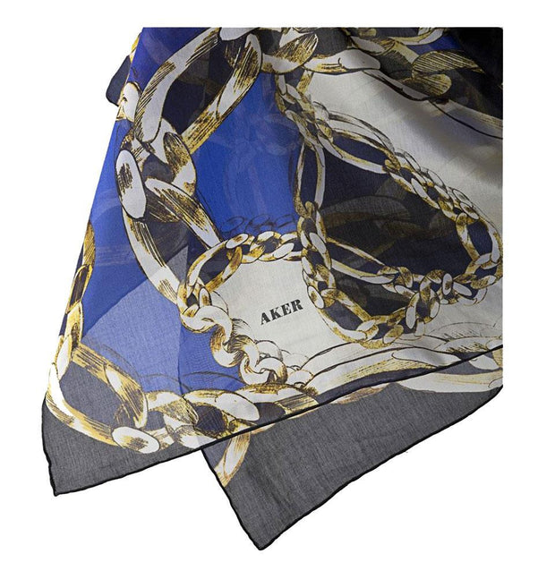 Aker Silk Cotton Patterned Square Scarf #6948