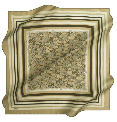 Aker scarf Olive Green Aker Silk Cotton Patterned Square Scarf #7807-451