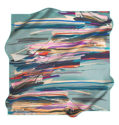 Aker Silk Cotton Patterned Square Scarf #7814-451