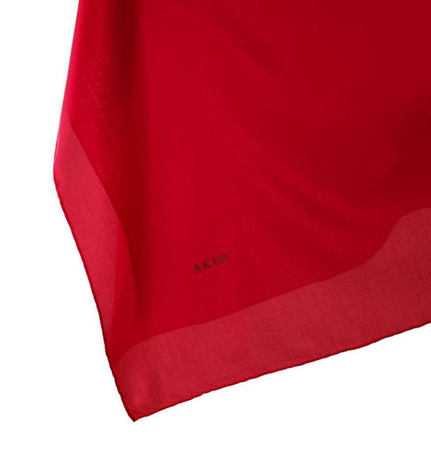 Aker scarf Bright Red Aker Silk Cotton Square Solid Scarf #7071-441
