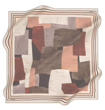 Aker scarf Beige Aker Silk Cotton Patterned Square Scarf #8103-431