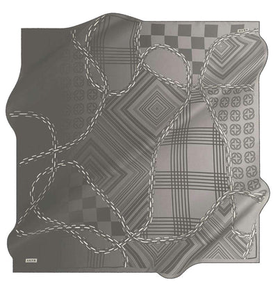 Aker scarf Black Aker Silk Cotton Patterned Square Scarf #8117-411