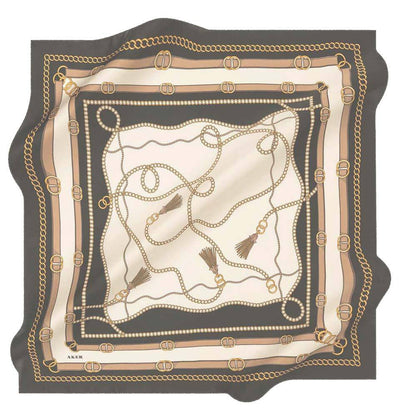 Aker scarf Black/Beige/Ivory Aker Silk Cotton Patterned Square Scarf #8029-411