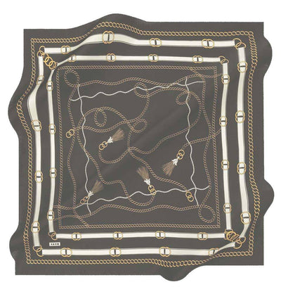 Aker scarf Black/Gold Aker Silk Cotton Patterned Square Scarf #8029-412