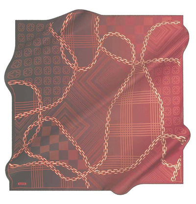 Aker scarf Black/Red Aker Silk Cotton Patterned Square Scarf #8117-412
