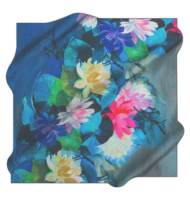 Aker scarf Blue Aker Silk Cotton Patterned Square Scarf #7759-422